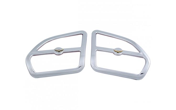 GL1800 01-05 Chrome Front Speaker Grills w/Eagle Emblem