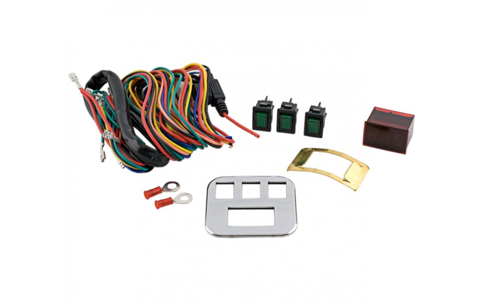 GL1800 01-17 Accessory Lighted Switch Kit w/Voltmeter and Chrome Plate