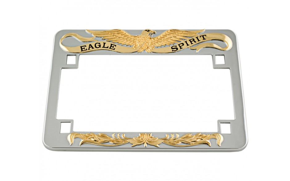 Chrome License Plate Frame w/Gold Eagle