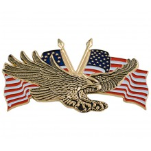 Gold Flying Eagle w/USA Flag 4 ¼ Inches
